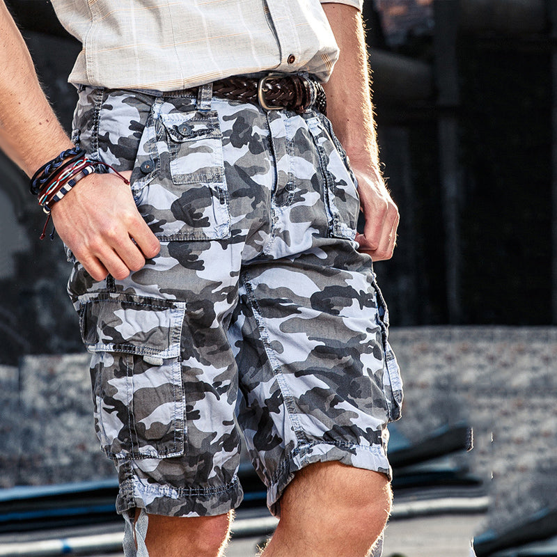 Military Camo Multi-pocket Cotton Men's Cargo Shorts