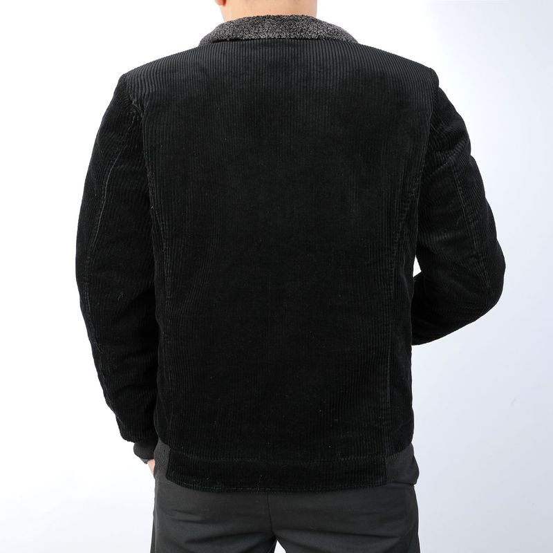 Loose Warm Lamb Fur Collar Corduroy Men's Jacket