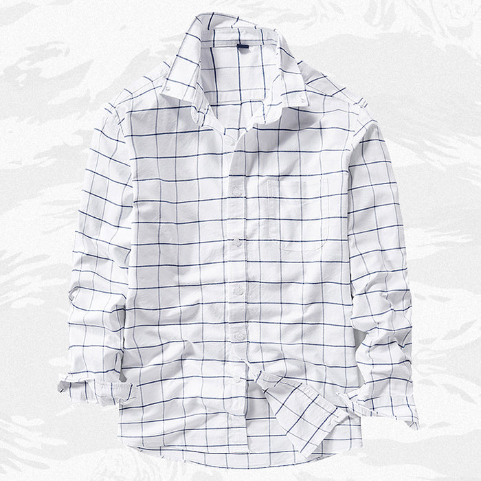 Loose Cotton Casual Plaid Long Sleeve Men Cargo Shirt