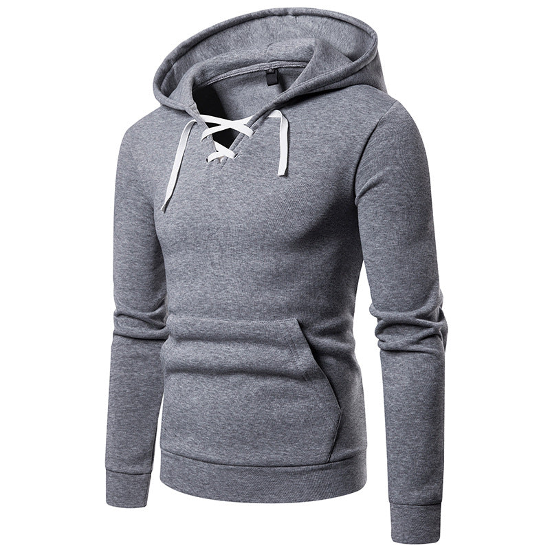 Fashion Simple Lace-up Men's Hoodies