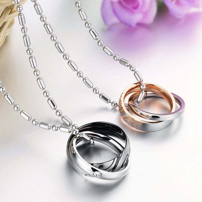 Love Stainless Steel Double Rings CZ Inlaid Couple Necklaces