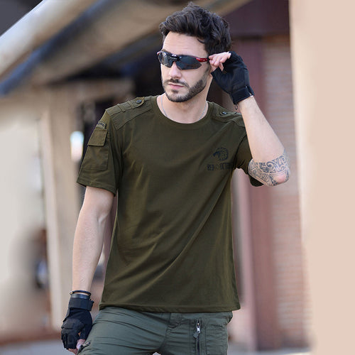 Cotton Solid Color Round Neck Men T-shirt - KINGEOUS