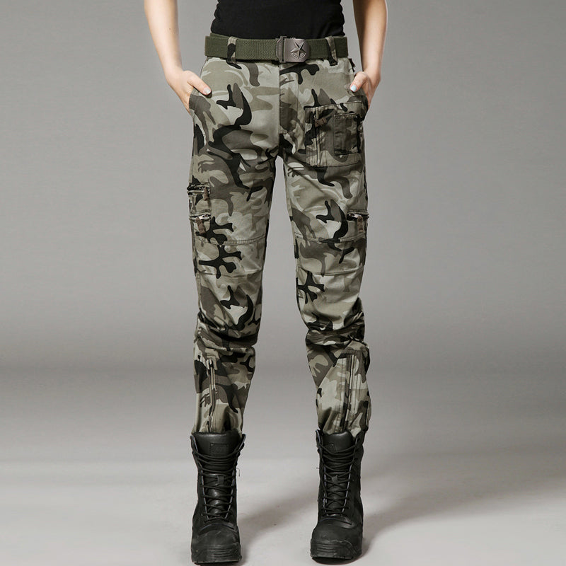 Military StyleMulti-Pocket Women's Cargo Pants