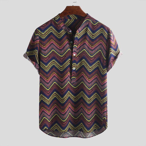 Charming Printed Split Joint Holiday Men Shirt