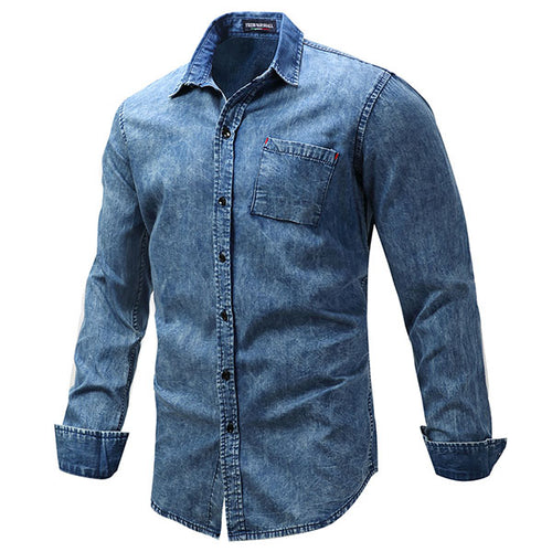 Casual Cotton Lapel  Long Sleeve Men's Denim Shirt - KINGEOUS