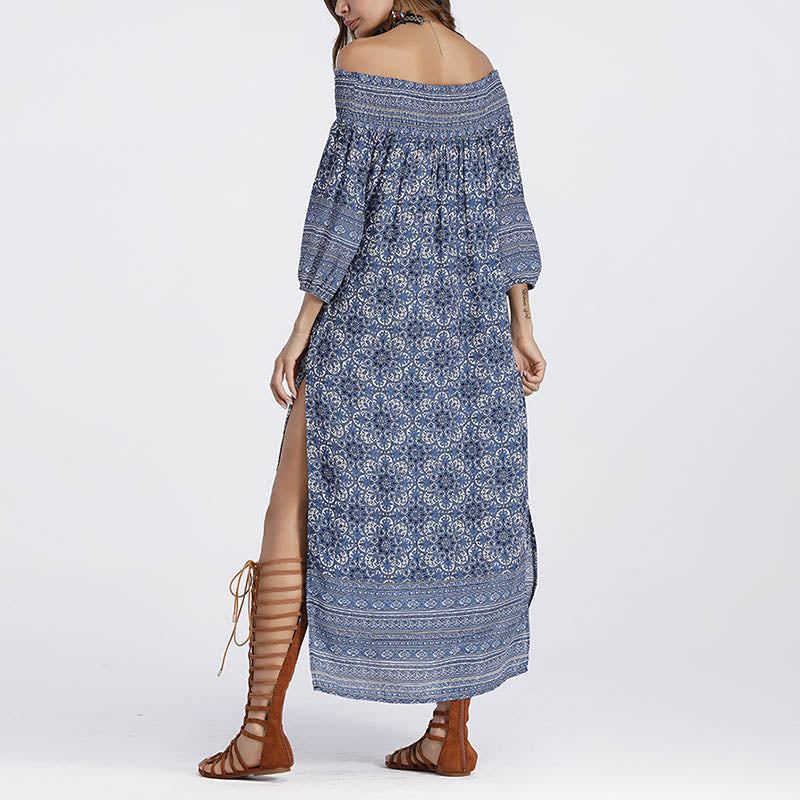 Fashion Boat Neck Boho Pattern Loose Beach Maxi Dress
