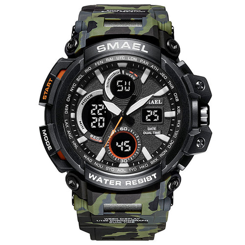 Double Display Cold Light Waterproof Hiking Men Wristwatch