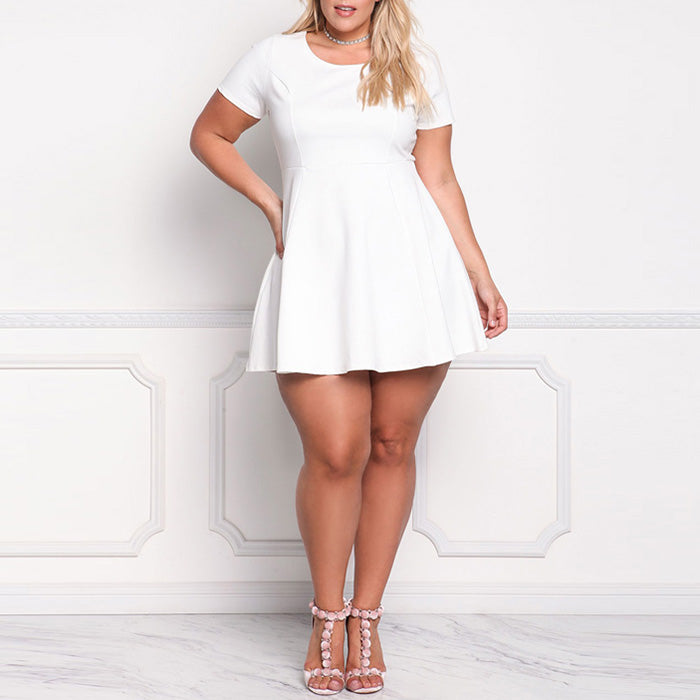 Sweet Short Sleeve Big Hem Pure Color Plus Size Short Dress