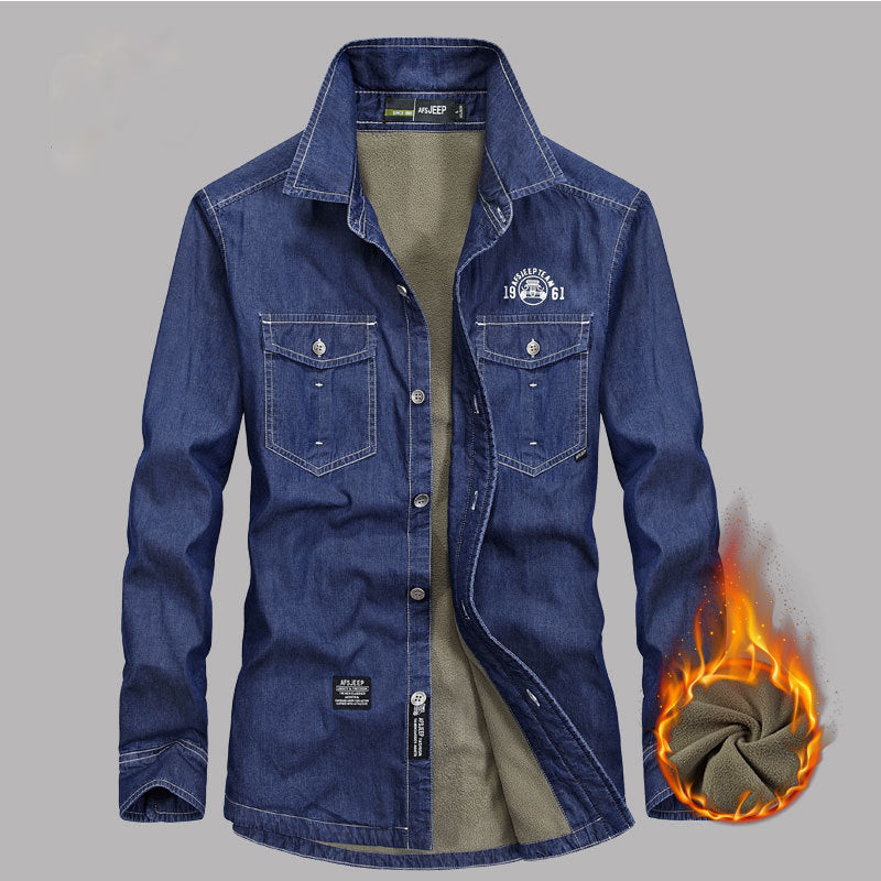 Casual Denim Cotton Long Sleeve Warm Men's Shirt