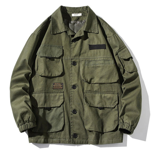Multi-pocket Loose Cargo Solid Color Men's Casual Jacket