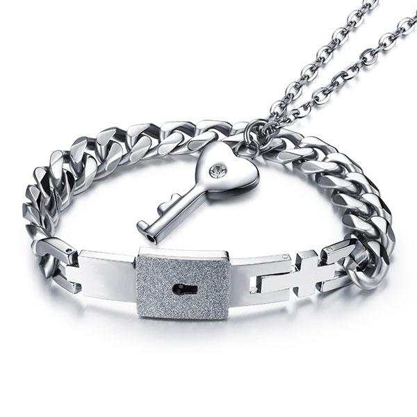 Stainless Steel Love Lock Women Necklace and Men Bracelet