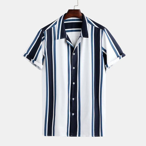 Mens Fashion Patchwork Big Stripe Breathable Loose Casual Shirts