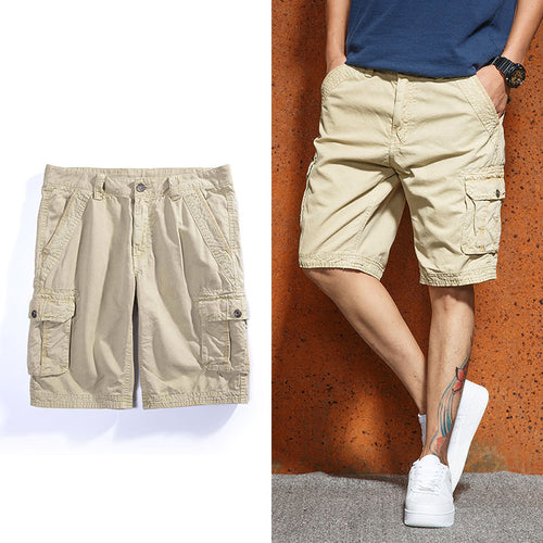 Summer Outdoor Pure Cotton Washed Multi-Pocket Men's Shorts