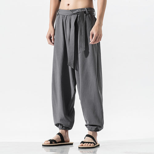 Spring Summer Loose Cotton Elastic Waist Men Pants