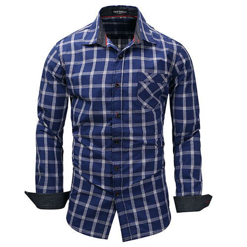 Casual Plus Size Denim Plaid Long-sleeved Men's Shirt - KINGEOUS