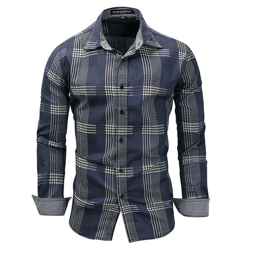 Leisure Business Denim Plaid Long-sleeve Men's Shirt