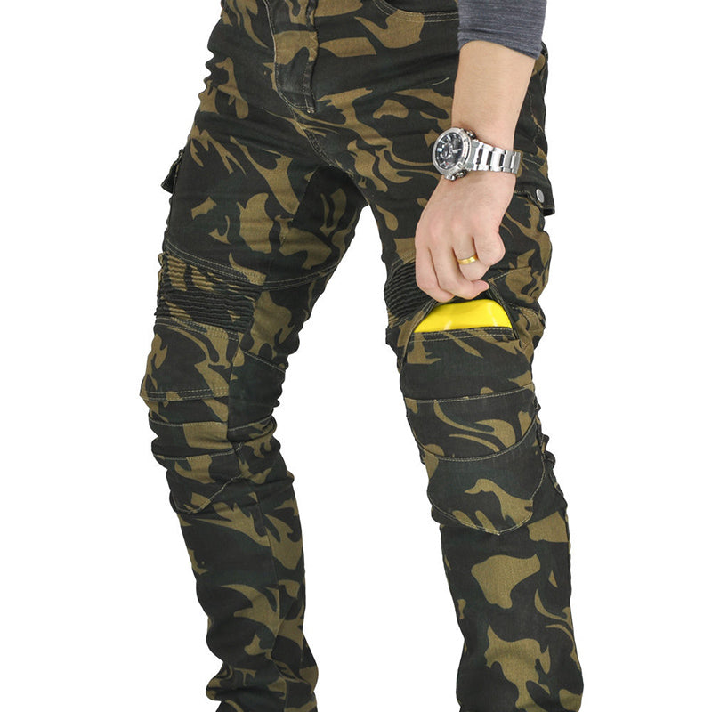 Outdoor Camo Motorcycle Riding Men's Pants with Knee Pads