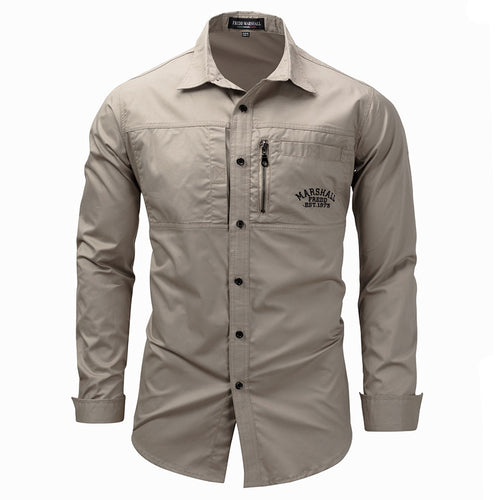 Long Sleeve Lapel Zipper Cotton Military Outdoor Casual Men Shirt