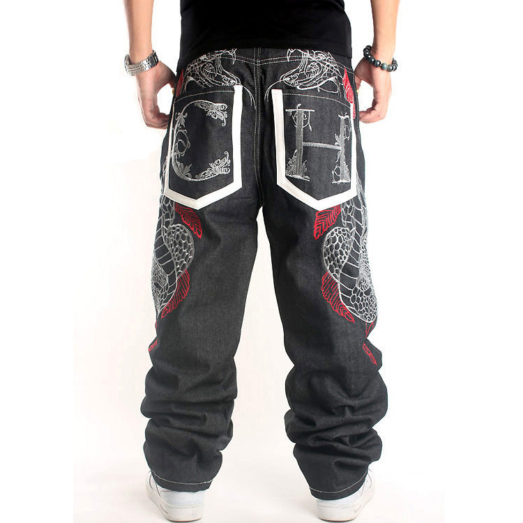 Trendy Plus Size Embroidered Jeans Men Pants