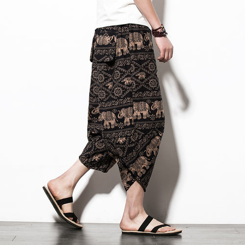 Casual Ethnic Vintage Print Pockets Men Pants