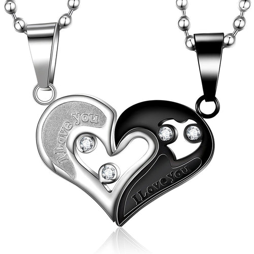 I Love You Heart Titanium Steel Couple Necklaces