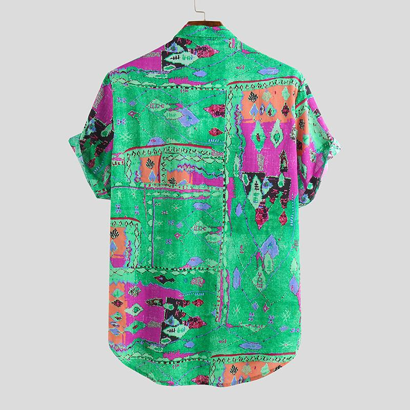 Turndown Collar Printed Summer Casual Men's Shirt