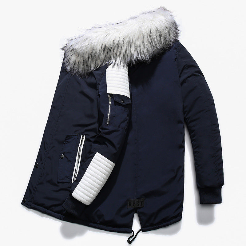 Outdoor Thick Large Fur Collar Long Men's Jacket