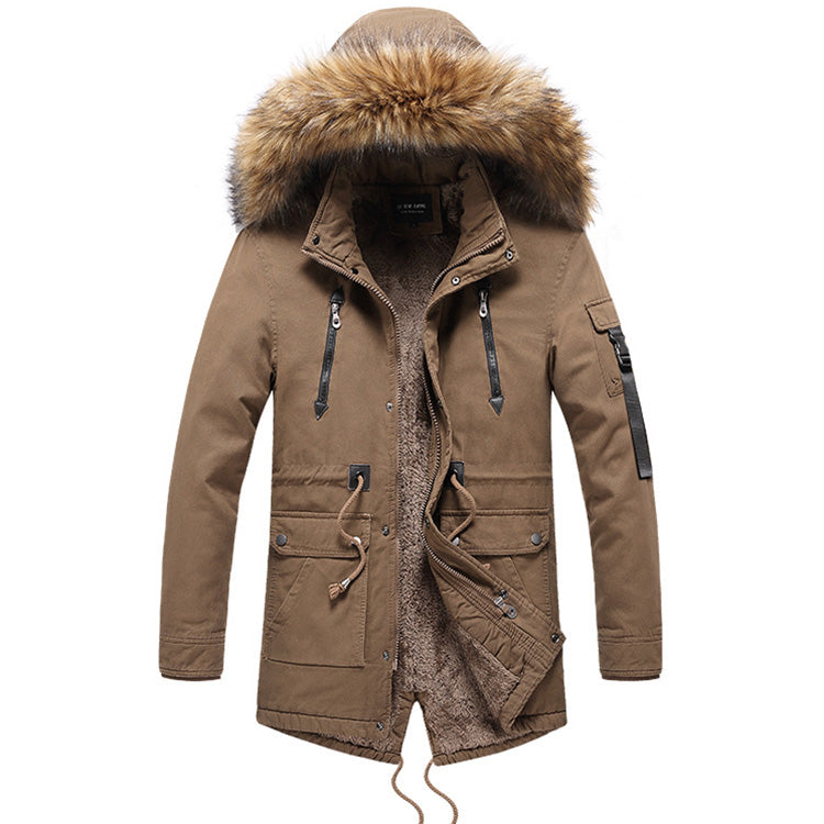 Casual Long Fur Collar Thick Men's Jacket