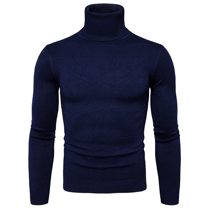 Solid Color Slim Turtleneck Sweater Men's Bottoming Shirt