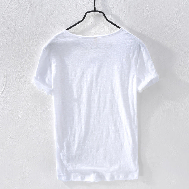 Heart Neck 100% Cotton Short Sleeve Men's T-shirt