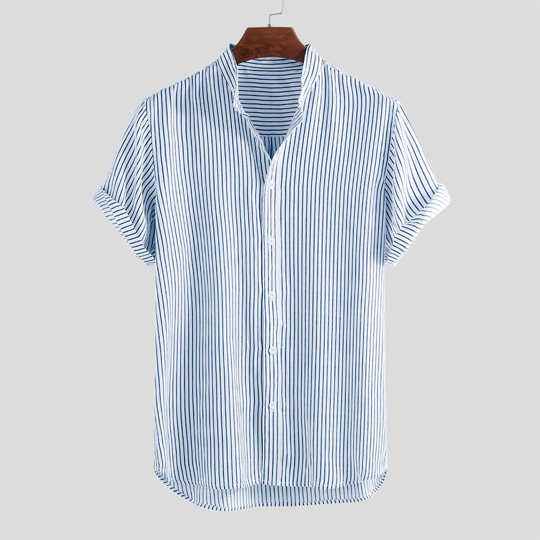 Men Stripe Cotton Short Sleeve Round Hem Casual Shirts