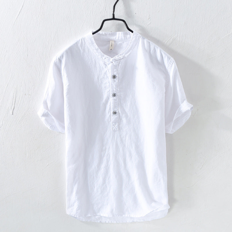 Retro Men's Linen Short Sleeve T-shirt