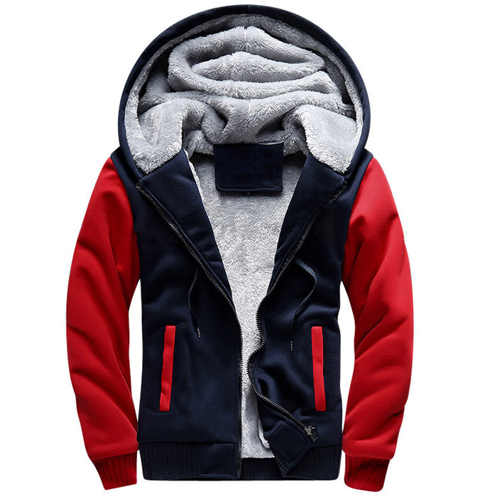 Leisure Winter Thicken Color Matching Hooded Men's Coat