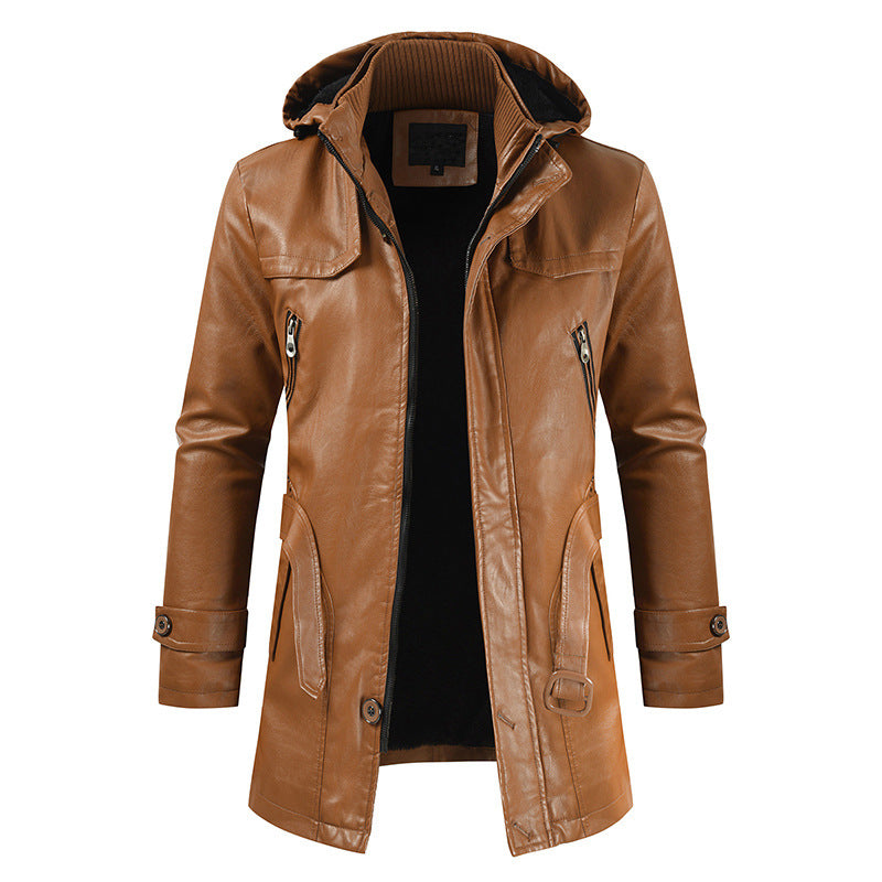 Casual Fashion PU With Belt Men's Jacket