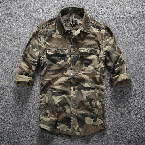 Casual Cotton Camouflage Multi-pocket Mens Jacket Shirts