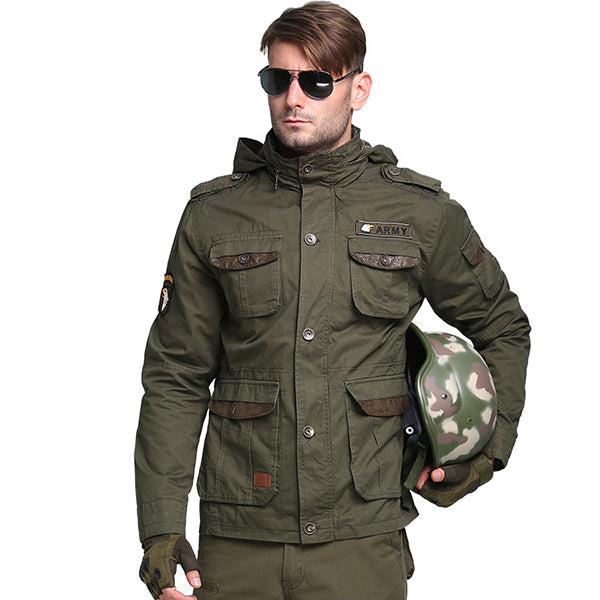 Airborne Series Multi-pocket Hooded Thicken Men's Jacket - KINGEOUS