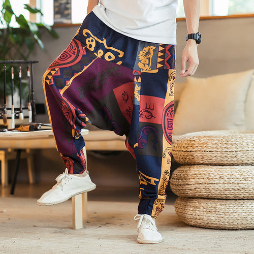 Casual Vintage Hip-hop Cotton Linen Harem Men Pants