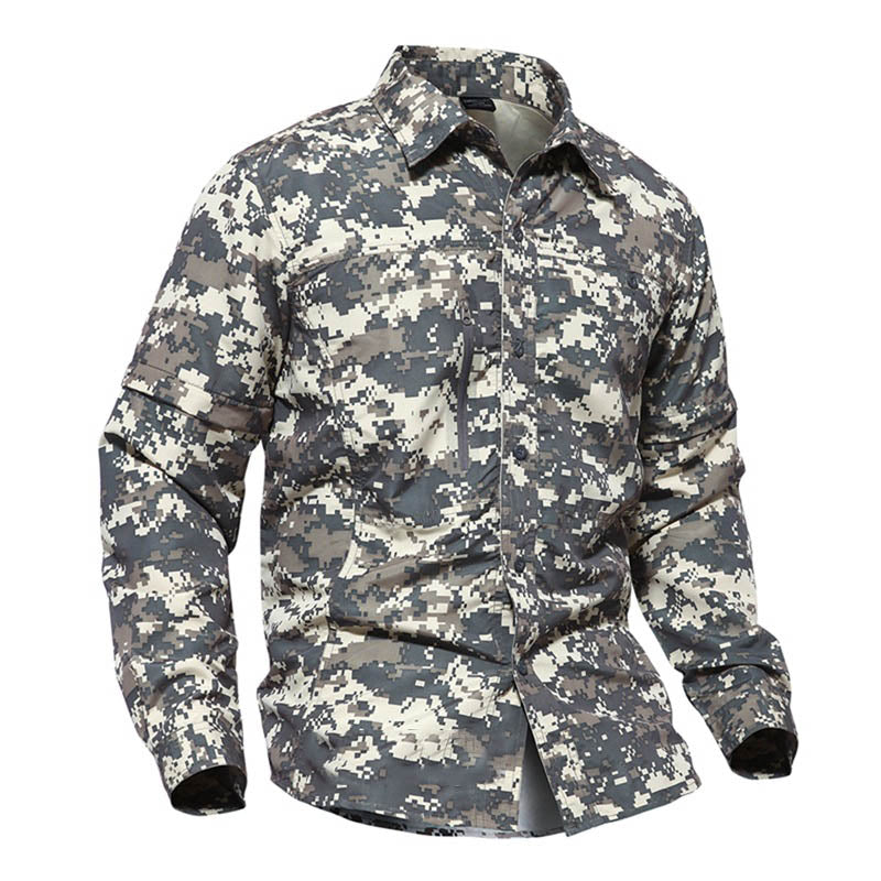 Tactical Camo Quick-drying Men's Shirt (Detachable Sleeve Design)