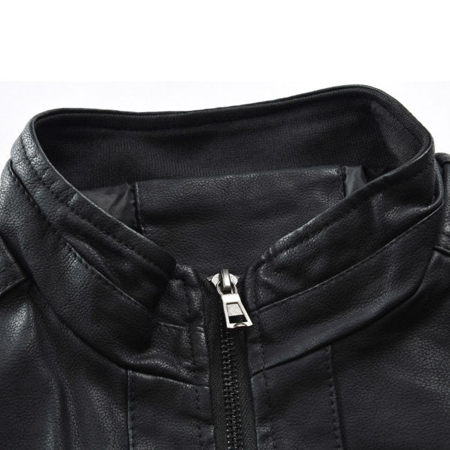Autumn Winter Styles Leather collar zipper jacket For Men