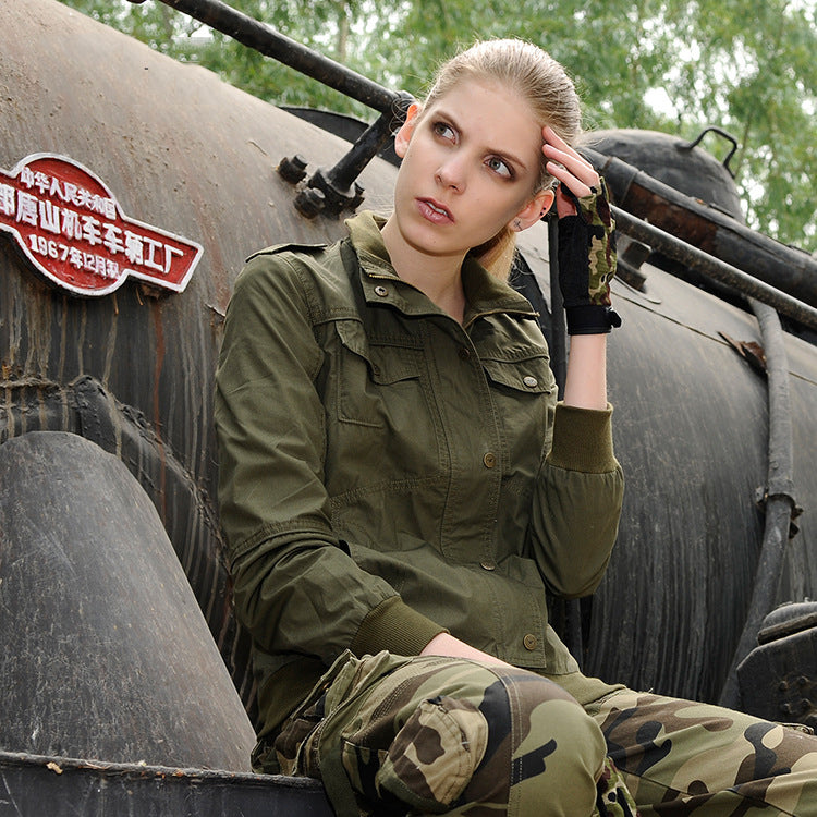 Military Standing collar Cotton Jacket Women Coat