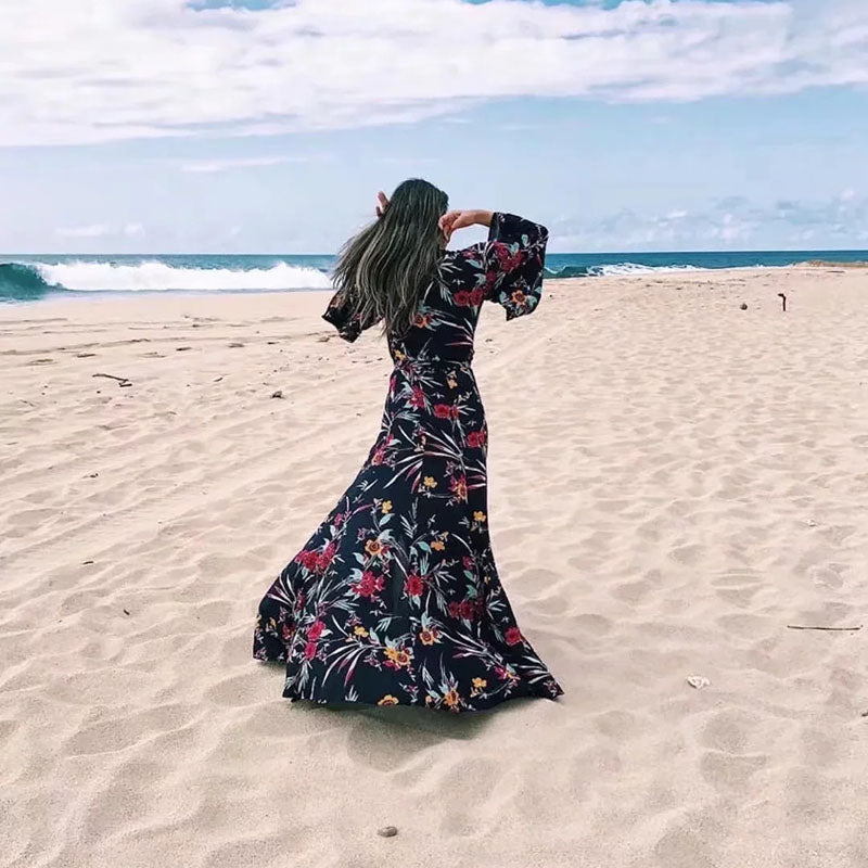 Charming V-neck Lace Up Floral Printed Maxi Dress - KINGEOUS