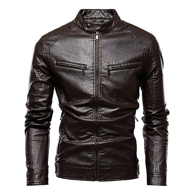 Fashion Locomotive Tight  Men's Leather Jacket