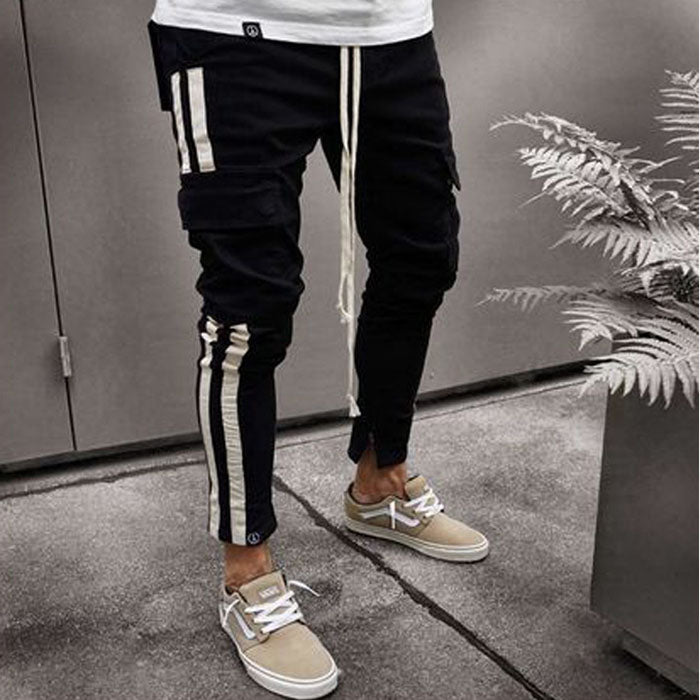 Fashion Multi-pocket Zipper Embroidery Label Men's Pants