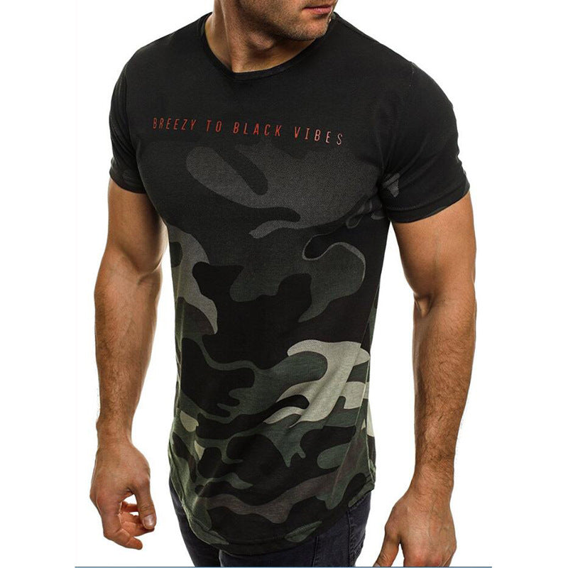 Summer Thin Camo Fitness Short-sleeved Men's T-shirt