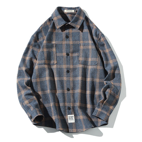 Retro Plaid Printed Lapel Long Sleeve Men's Shirt