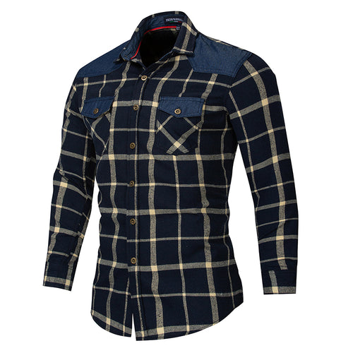 Cotton Denim Plaid Stitching Long-sleeve Men's Shirt