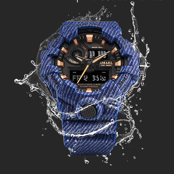 Cowboy Style Dual Display Waterproof Men Wristwatch - KINGEOUS