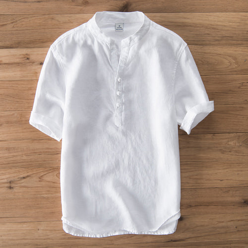 Quality Linen Cotton Middle Sleeve Men's T-Shirt