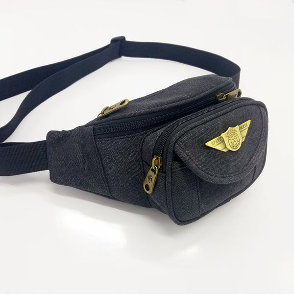 Compact Outdoor Sport Tactical Mini Canvas Waist Bag - KINGEOUS