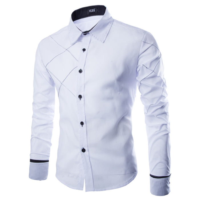 Fashion Lapel Solid Color Long-sleeved Men's Shirt